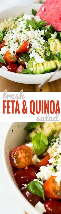 Feta Quinoa Salad with Basil Lemon Vinaigrette - A fresh and nutritious salad loaded with goodness! Get the recipe at nutritionistmeetschef.com