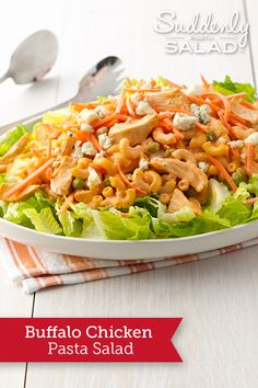 Buffalo Chicken Pasta Salad - This creamy, crunchy, spicy pasta salad makes an easy, portable picnic dish or beautiful--and sturdy--potluck pleaser.