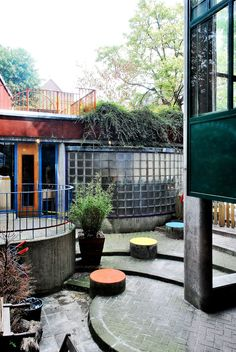 Aldo Van Eyck, Conceptual Model Architecture, Interior Garden, Affordable Housing, Texture Design, Amsterdam, House, Patio, Colour
