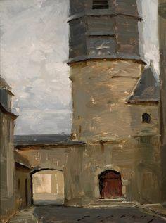 """Chatillon Coligny Loire"", Oil on linen panel, 10"" x 8"", by Jeremy Lipking"