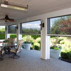 Executive Motorized Retractable Screens on back porch by Phantom Screens Screened Porch Designs, Screened In Patio, Back Patio, Backyard Patio, Front Porch, Enclosed Patio, Patio Under Decks, Screened Porch Decorating, Porch Garden