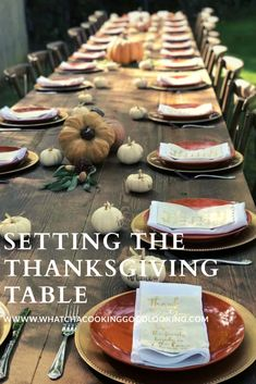 Setting the Thanksgiving Table - Whatcha Cooking Good Looking? Thanksgiving Table Settings, Thanksgiving Tablescapes, Thanksgiving Side Dishes, Thanksgiving Decorations, Thanksgiving Recipes, Table Centerpieces, Table Decorations, White Pumpkins, How To Look Better
