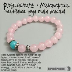 """Rose Quartz is the stone of unconditional love.  Aquamarine is a """"Stone of Courage and Protection""""."""