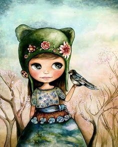 little girl with bird in the forest art by PrintIllustrations, $20.00 claudia tremblay