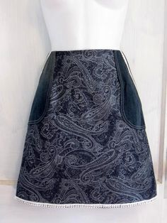 Handmade Stretch Denim Paisley Skirt size 10 by HappyRagz on Etsy  #crochetflower