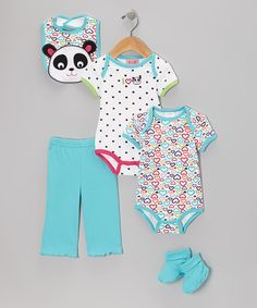 Two darling bodysuits pair perfectly with the elastic-waistband pants in this thoughtful set, which boasts cuffed hems for a secure fit. The matching bib will keep Baby clean from spills and accidents, while the socks ensure toes are nice and toasty.Includes two bodysuits, pants, bib and socks100% cottonMachine wash; tu...