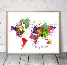Floral world map printable world map world map wall by msdesignart colorful world map print earth poster nature by msdesignart gumiabroncs Images