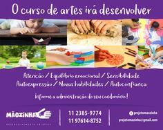 Post de Facebook para Projeto Mãozinha - Curso de Artes em condomínios