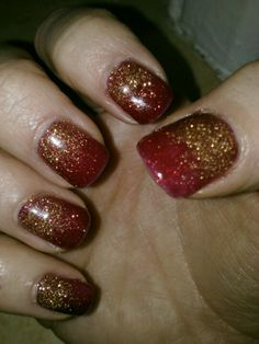 Christmas Nails! Red shellac with gradient silver sparkles #nails ...