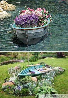 yard decorations, boats with flowers