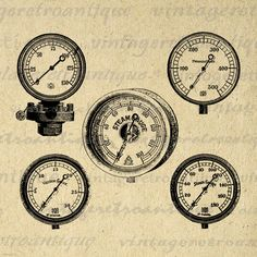 Steam Gauges Digital Image Download Collage Sheet Printable Dial Graphic Vintage Clip Art. Printable high quality digital graphic image for transfers, making prints, tea towels, and many other uses. Great for use on etsy items. This image is high quality, high resolution at 8½ x 11 inches. Transparent background version included with all images.