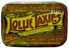 Bickford, A.M. & Sons, Ltd. Lollie Laxies Tin. Mid 1920s by All About South Australia., via Flickr
