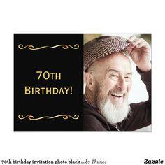 Shop birthday invitation photo black for guys created by Thunes. 80th Birthday Invitations, 70th Birthday Parties, Zazzle Invitations, Black And Gold Invitations, Photo Black, Party Supplies, Party Themes, Guys, Men