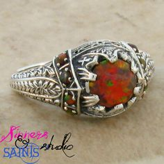 SZ 5 Captivating (Lab) Orange Fire Opal .925 SS Ring. Starting at $10 on Tophatter.com!