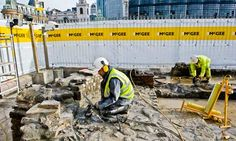 Guardian piece discussing the dismantling of the 1960 Temple of Mithras reconstruction ahead of construction of Bloomberg London and its rehousing at its original location, 7 metres below modern ground level.