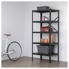 IKEA BROR Shelving unit- shipping station for Lars-box storage Ikea Kitchen Storage, Kitchen Storage Containers, Kitchen Rack, Ikea Storage, Kitchen Shelves, Wall Shelves, Pantry Shelving, Box Storage, Armoire Forte