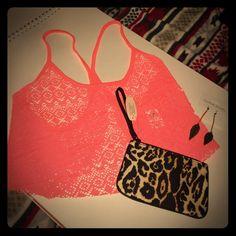 Spring Ready Crop Top Medium NWT is More neon orange than in photos PINK Victoria's Secret Tops Crop Tops