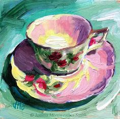Rose Tea Cup Painting Antique Tea Cup Art Tea Cup by JemmasGems