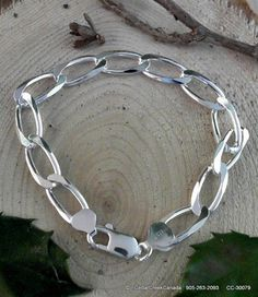 Elongated 925 Sterling Silver Beveled Curb by CedarCreekCanada