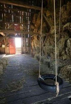 OMGosh a swing in the barn, how fun
