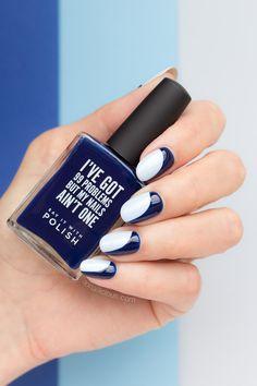 Blue nails || Sideways French manicure
