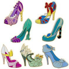Disney Princess slippers pin collection set