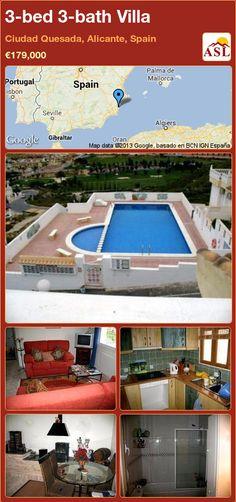 3-bed 3-bath Villa in Ciudad Quesada, Alicante, Spain ►€179,000 #PropertyForSaleInSpain