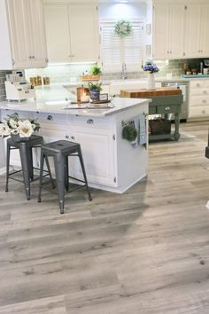 Lovely Kitchen Vinyl Flooring Ideas Wood Planks Updating a Kitchen with Vinyl Engineered Plank Flooring Grey Vinyl Plank Flooring, Vinyl Flooring Kitchen, Kitchen Vinyl, Farmhouse Flooring, Living Room Flooring, New Kitchen, Grey Tile Floors, Waterproof Vinyl Plank Flooring, Living Rooms