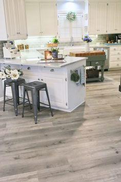Lovely Kitchen Vinyl Flooring Ideas Wood Planks Updating a Kitchen with Vinyl Engineered Plank Flooring Grey Vinyl Plank Flooring, Vinyl Flooring Kitchen, Kitchen Vinyl, Farmhouse Flooring, Living Room Flooring, New Kitchen, Kitchen Decor, Grey Tile Floors, Waterproof Vinyl Plank Flooring