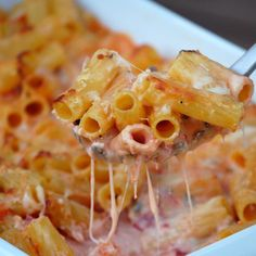 Pasta with Five Cheeses....  An Italian twist on the classic mac 'n' cheese, this hearty casserole features creamy tomato sauce and five varieties of cheese. With an easy, five-minute prep, you'll have dinner on the table in less than an hour.
