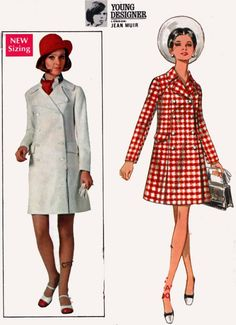 1960s Coat Dress Young Designer Jean Muir Butterick 5242 Vintage 60s MOD Sewing Pattern Simplicity 5822 Size 14 Bust 36 UNCUT by sandritocat on Etsy