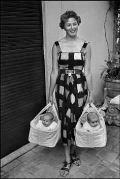 Ingrid Bergman with twins Isabella and Isotta Rossellini, 1952