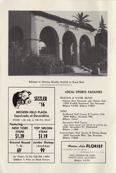 Page from a city directory for Mission Hills, circa 1964. Features photograph of the entrance to Memory Garden, located on Brand Boulevard, an advertisement for Sizzler restaurant on Sepulveda Boulevard at Devonshire Street, and lists local sports facilities for Mission Hills. San Fernando Valley Historical Society. San Fernando Valley History Digital Library.