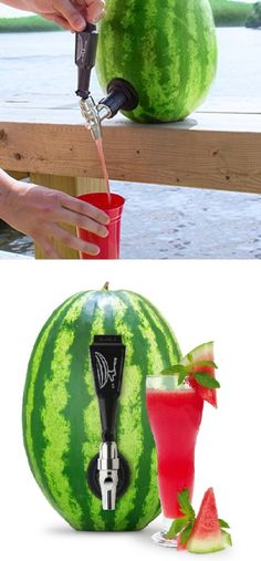 This cheap kitchen gadget is as simple as useful, and by far the coolest way to serve refreshing watermelon smoothie. It also works with other fruits and vegetables