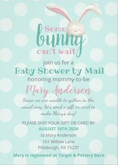 Shop Baby shower by mail, bunny on mint polca dots invitation created by LandofWhimsy. Personalize it with photos & text or purchase as is! Baby Design, One Design, Baby Shower Invitations, Birthday Invitations, Baby Shower Themes, Shower Ideas, Ar Card, Mary Day, Personalized Invitations