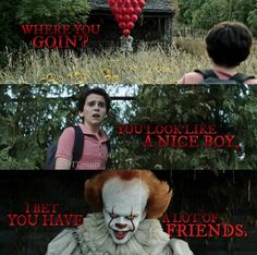The only thing is that he says this quote to Georgie It Movie Cast, It Cast, Halloween Front Door Decorations, Stephen King Books, Pennywise The Dancing Clown, Clowning Around, Cast Stranger Things, Movie Memes, Movies Showing