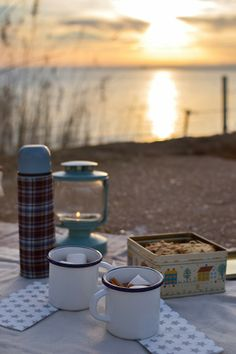 Winter picnic at sunset (hot chocolate with cookies) - Picnic de invierno al atardecer (chocolate caliente con cookies)