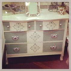 Shabby chic fabulous from www.sassyfrassco.com blue and white dresser, Victorian dresser, two tone dresser, brushed nickel drawer pulls, stenciled dresser, cream and provance , annie sloane, soft colored dresser, feminine look for a dresser.  Could be nautical chic,