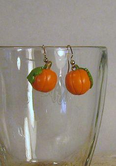 Pumpkin earrings by GingerbreadFaire on Etsy