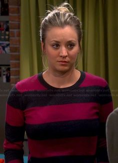 Penny's pink and navy striped sweater on The Big Bang Theory.  Outfit Details: http://wornontv.net/22611/ #TheBigBangTheory