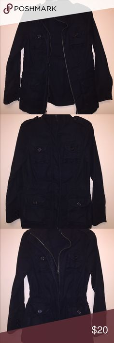 Gap cargo jacket - premine ♥️ Black Gap cargo jacket. Excellent condition. Has string to make it narrower on waist; has 4 fromt pockets, buttons look good and tight, extra button sewn inside from manufacturer. No holes, no imperfections at all. Please ask if any questions. Open to offers or bundle to save. Thanks! GAP Jackets & Coats