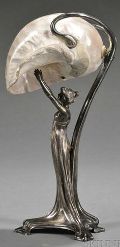 Table Lamp; Wurttembergische, Art Nouveau, Figure, Nautilus Shell Shade, Silver Plate & Mother-of-Pearl, 14 inch.