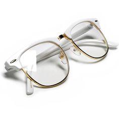 Aviator Sunglasses For Women Sunglass Spot-Retro Half Frame Simi-Rimless White Browline Gold Wire Trim Clear Lens Wayfarer Glasse. Half Frame Glasses, Fake Glasses, Glasses Frames, Clear Sunglasses, Wayfarer Sunglasses, Retro Sunglasses, White Sunglasses, Sunglasses Accessories, Cat Eyes