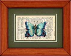Dictionary Print  Vintage Blue Butterfly  6 3/4 x 9 by PagesOfAges, $7.00