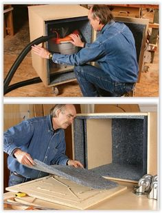 How To Silence Your Shop Vac ...build a particleboard box & lined it with acoustic padding. With the vacuum inside, the noise reduction was so great that he had it tested by a sound engineer. He registered an amazing 25-decibel reduction to a level below that of an average conversation ............. #DIY #tools #shopvac #acousticpanel #ceilingtile #wood #particleboard #MDF #crafts