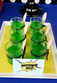 Kryptonite superman heroes birthday party j-ello jell-o