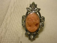 Antique Sterling Silver Glass Cameo Pink Ring Size 5 1/2 Rhinestones #Unbranded