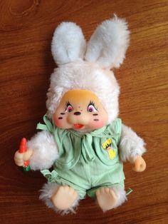 "Rare Monchhichi Rabbit 8"" VINTAGE wearing green outfit"