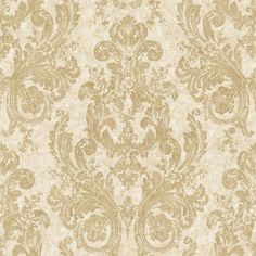 This incredible new damask from York Wallpaper's Nantucket collection is so gorgeous, words are not enough! Each lush floral and acanthus leaf scroll damask reminds me of an ornate chandelier and is done in soft vintage gold.
