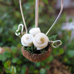 Hanging acorn basket of flowers white Fairy Garden by UnInhibited, $18.00